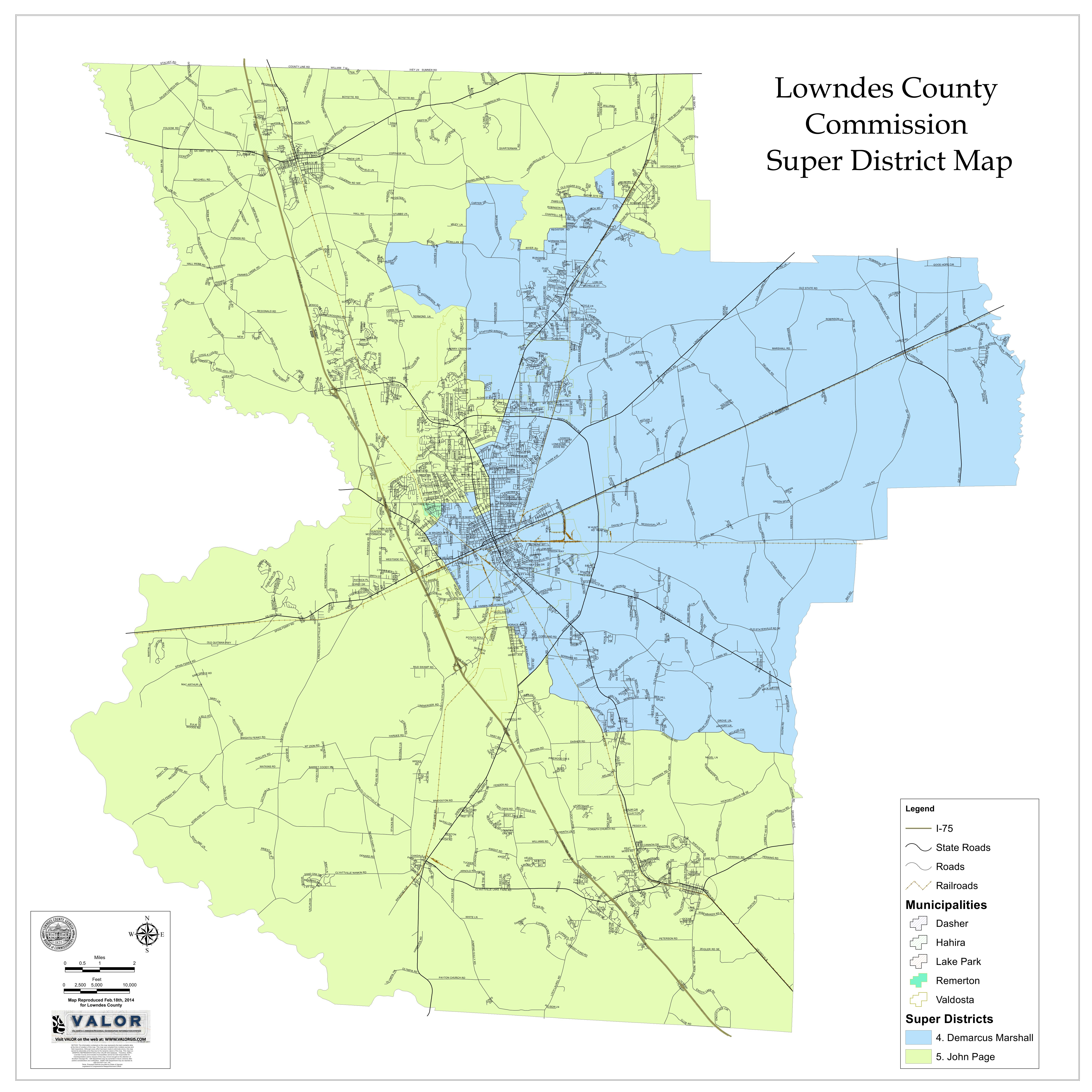 6300x6300 District 5 (west) and District 4 (east), in Lowndes County Superdistricts Map, by Lowndes County Commission, for gretchenforlowndes.com, 18 February 2014