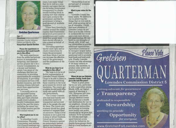 600x435 Newspaper-5-11-14, in Gretchen in the Sunday VDT, by John S. Quarterman, for GretchenforLowndes.com, 11 May 2014